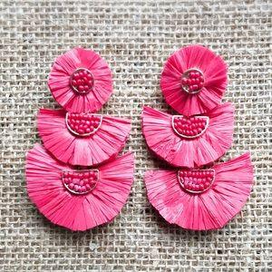 Jewelry - Statement Earrings, Red Raffia fan Earrings